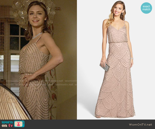 Adrianna Papell Embellished Blouson Gown in Taupe / Pink worn by Christine Evangelista on The Arrangement