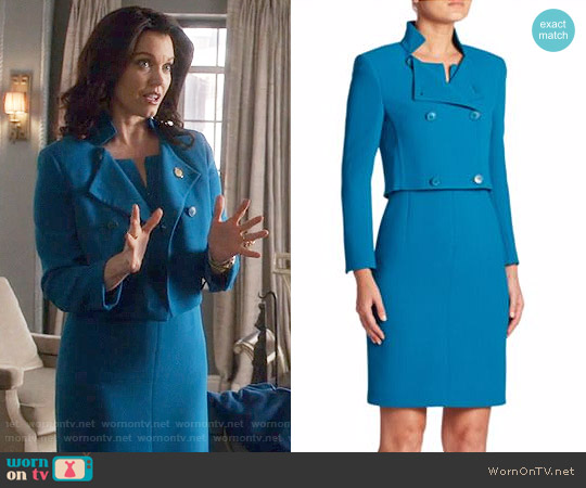 Akris Isabella Jacket and Zip Front Dress worn by Mellie Grant (Bellamy Young) on Scandal