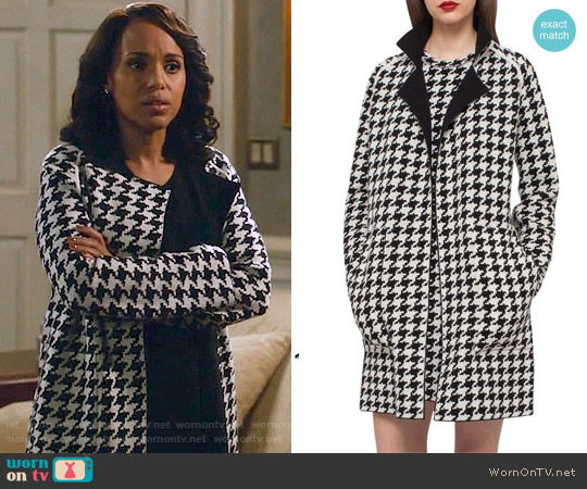 Akris Reversible Houndstooth Double Face Cashmere Coat worn by Kerry Washington on Scandal
