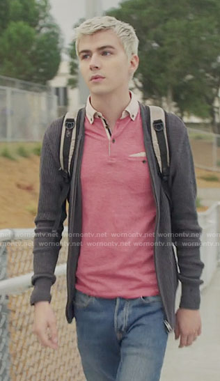 Alex's pink polo shirt on 13 Reasons Why