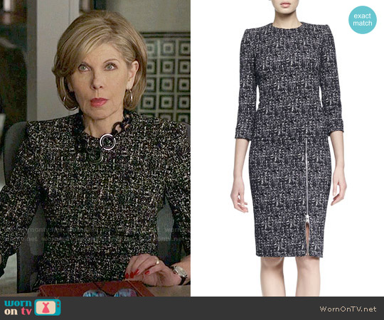 Alexander McQueen Zip-Hem Printed Sheath Dress worn by Diane Lockhart (Christine Baranski) on The Good Fight