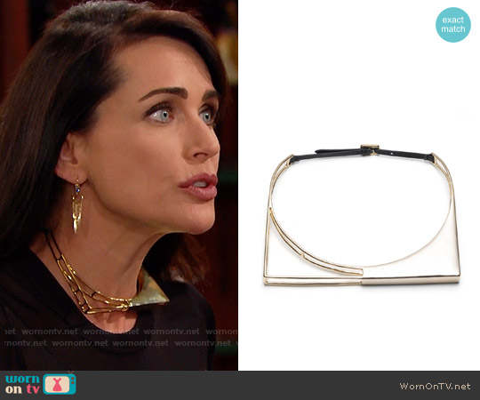 Alexis Bittar Liquid Gold Architectural Choker Necklace worn by Rena Sofer on The Bold & the Beautiful