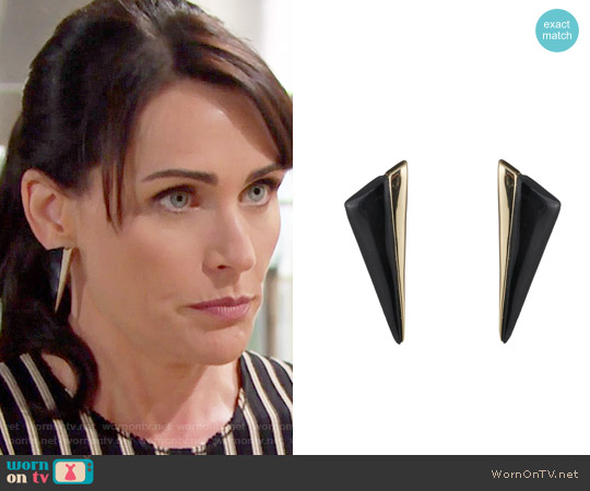 Alexis Bittar Angled Pyramid Post Earrings worn by Quinn Fuller on The Bold & the Beautiful