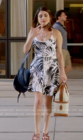Alexis's black and white leaf print dress on Famous in Love