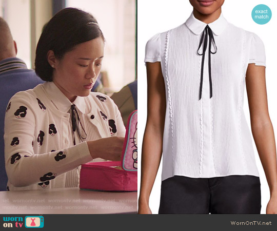 Alice + Olivia Kelsey Pleated Tie-Neck Blouse worn by Courtney Crimsen (Michele Selene Ang) on 13 Reasons Why