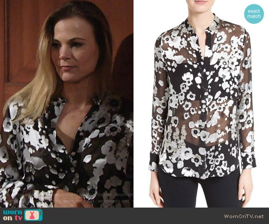 Alice + Olivia Belle Blouse worn by Gina Tognoni on The Young & the Restless