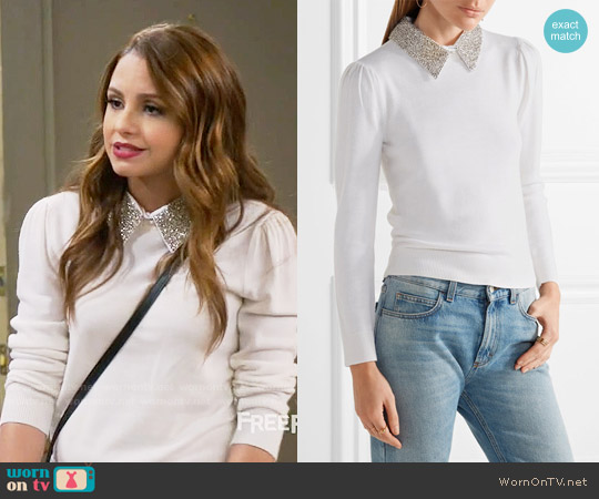 Alice + Olivia Era Sweater worn by Aimee Carrero on Young & Hungry