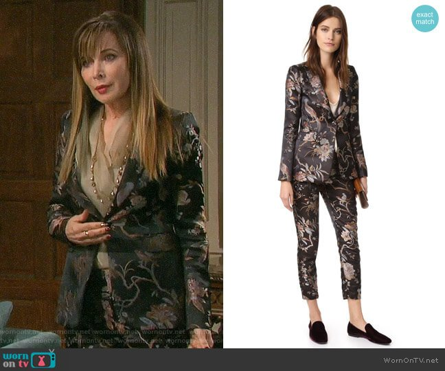 Alice + Olivia Macey Blazer and Stacey Pants worn by Lauren Koslow on Days of our Lives