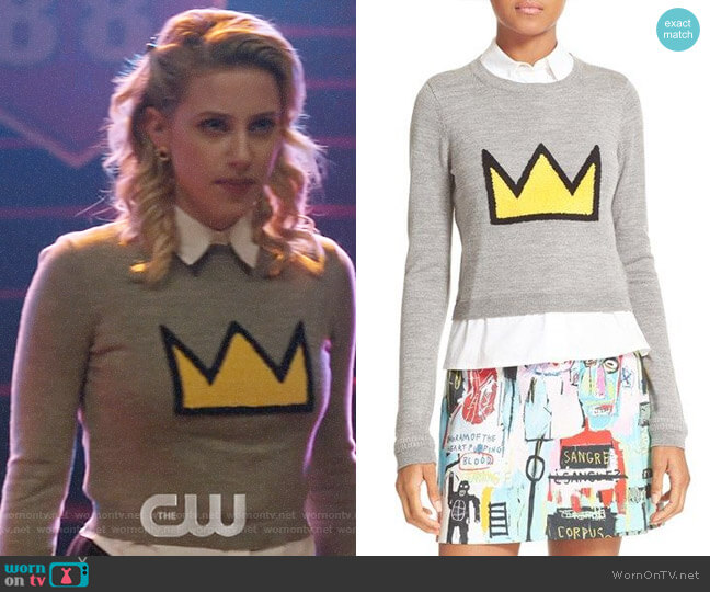 Alice + Olivia Nikia Crown Sweater worn by Betty Cooper (Lili Reinhart) on Riverdale