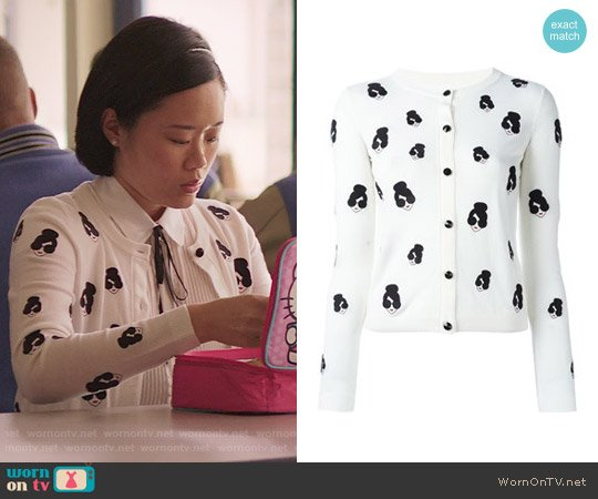 Alice + Olivia Stacey Emoji Cardigan worn by Courtney Crimsen on 13 Reasons Why