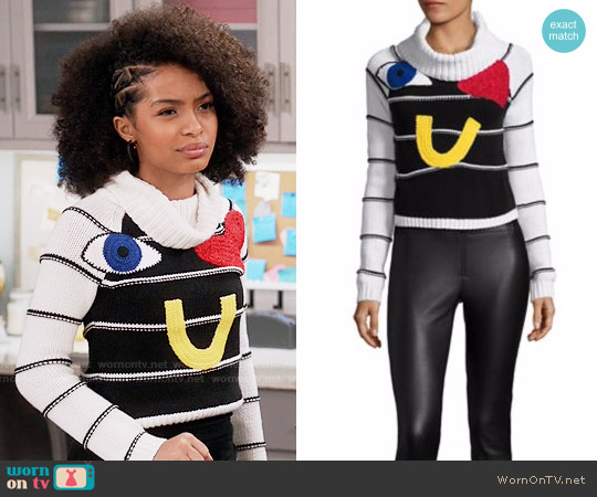 Alice + Olivia Zita Sweater worn by Yara Shahidi on Blackish