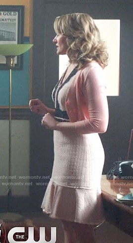 Alice's pink tweed dress with black lace on Riverdale
