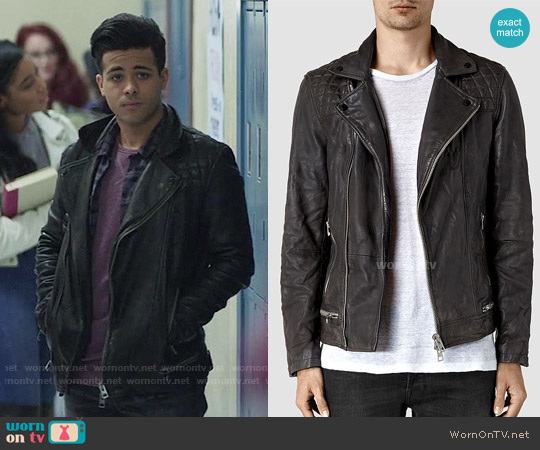 All Saints Conroy Leather Biker Jacket worn by Tony Padilla (Christian Navarro) on 13 Reasons Why