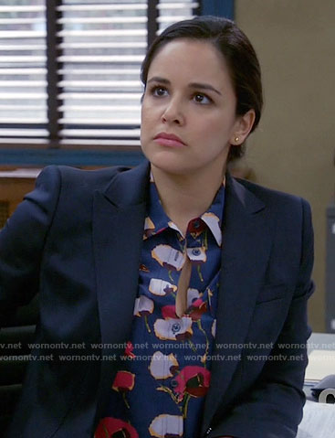Amy's blue floral blouse on Brooklyn Nine-Nine