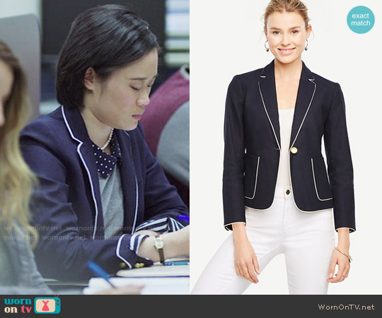 Ann Taylor Piped Linen Blend Blazer worn by Courtney Crimsen (Michele Selene Ang) on 13 Reasons Why