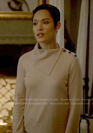 Annika's beige folded neck sweater on Empire