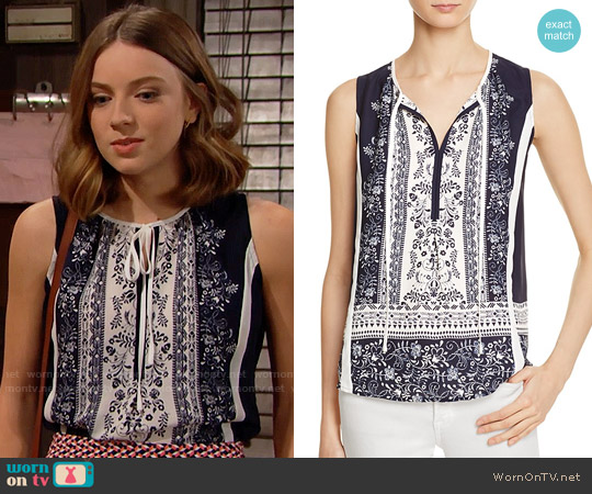 Aqua Floral Border Print Top worn by Coco Spectra (Courtney Grosbeck) on The Bold & the Beautiful