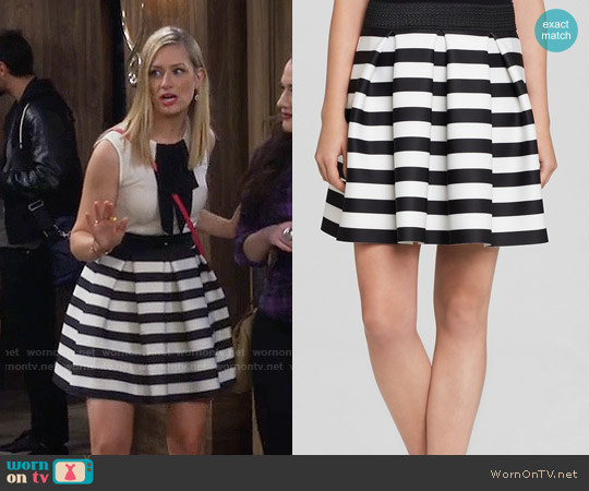 Aqua Striped Scuba Skirt worn by Caroline Channing on 2 Broke Girls