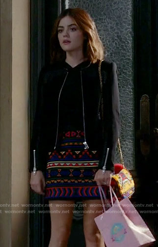 Aria's geometric patterned skirt on Pretty Little Liars