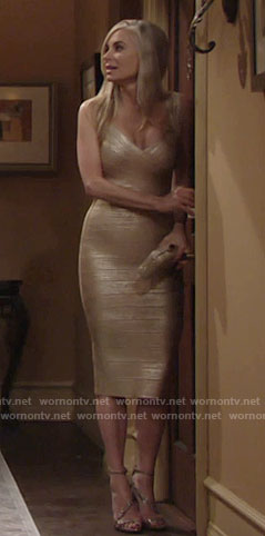 Ashley's gold bandage dress on The Young and the Restless