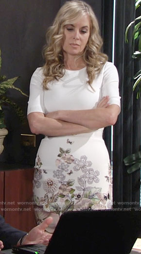 Ashley's white dress with floral print on The Young and the Restless