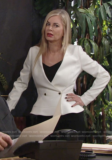 Ashley's white peplum jacket on The Young and the Restless