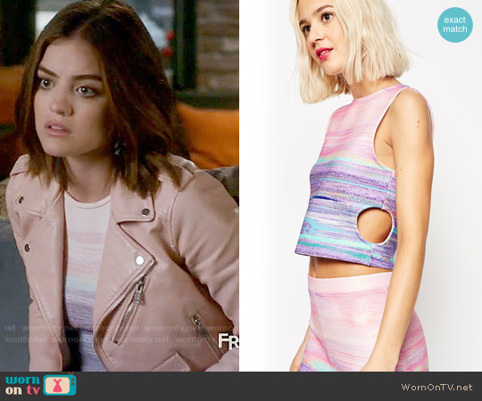 ASOS Top with Cutouts and Blurred Stripe Print worn by Lucy Hale on PLL
