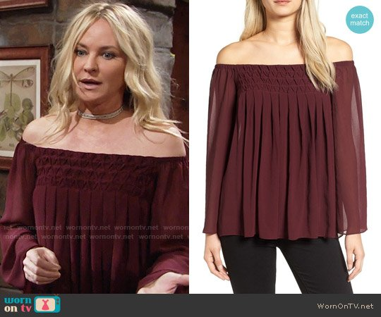 Bailey 44 Helena Off Shoulder Top worn by Sharon Case on The Young & the Restless