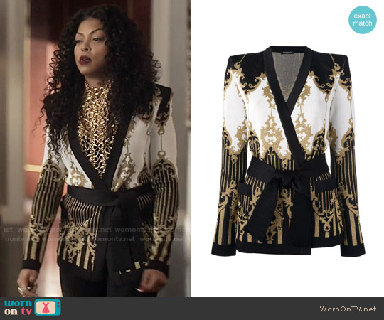 Balmain Baroque Belted Jacket worn by Taraji P. Henson on Empire