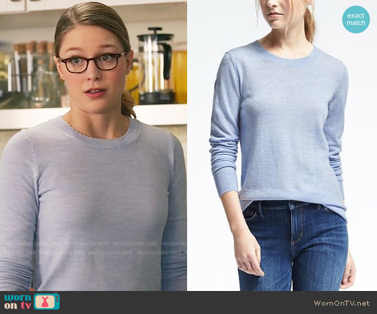 Banana Republic Merino Scallop Crew Pullover worn by Melissa Benoist on Supergirl