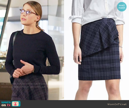 Banana Republic Plaid Asymmetrical Peplum Skirt worn by Melissa Benoist on Supergirl
