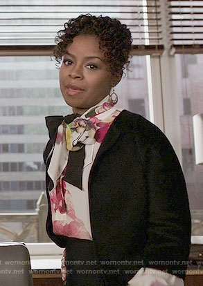 Barbara's floral blouse on The Good Fight
