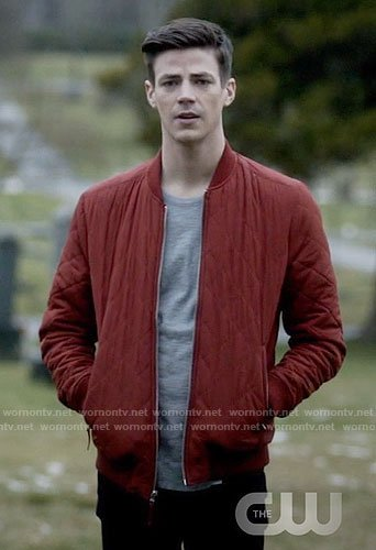 Barry's red quilted bomber jacket on The Flash
