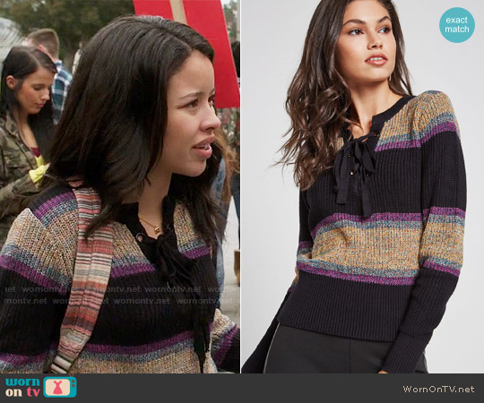 Bcbgeneration Marled Rainbow Stripe Sweater worn by Mariana Foster (Cierra Ramirez) on The Fosters