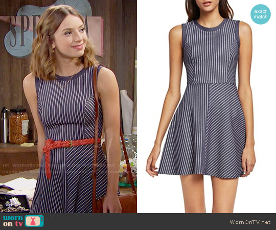 Bcbgeneration Sleeveless Stripe Flare Dress worn by Courtney Grosbeck on The Bold & the Beautiful