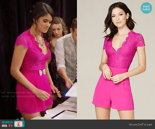 Bebe Lace & Georgette Romper worn by Danube Hermosillo on The Bold & the Beautiful