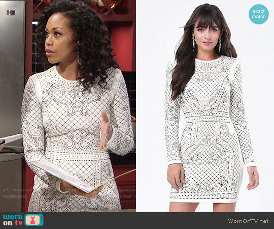 Bebe Bianca Studded Jacquard Dress worn by Mishael Morgan on The Young & the Restless