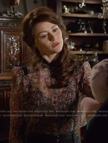 Belle's floral blouse with lace panels on Once Upon a Time