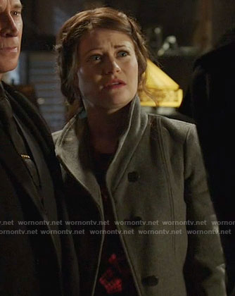 Belle's red plaid ruffled top and grey coat on Once Upon a Time