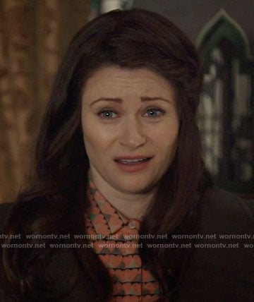 Belle's coral heart print shirt on Once Upon a Time