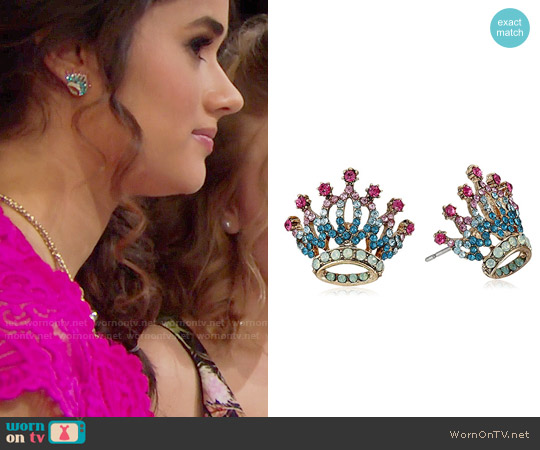 Betsey Johnson Princess Charming Crown Stud Earrings worn by Darlita on The Bold & the Beautiful