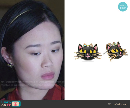 Betsey Johnson Enchanted Forest Cat Stud Earrings worn by Courtney Crimsen on 13 Reasons Why