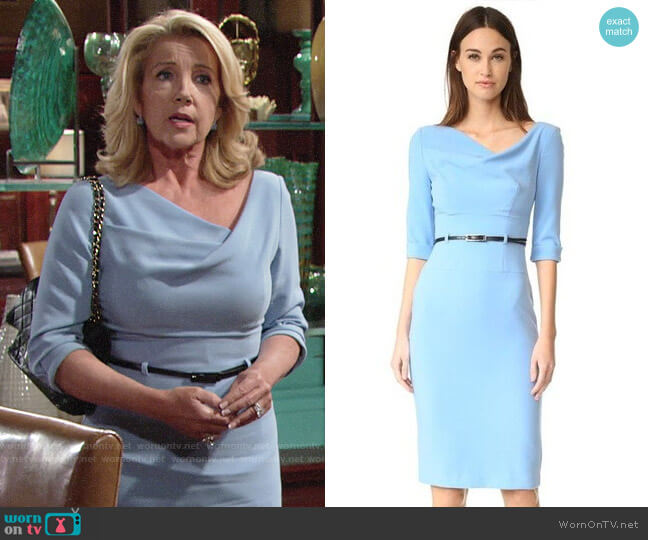 Black Halo 3/4 Sleeve Jackie O Dress in Twinkle Blue worn by Nikki Reed Newman (Melody Thomas-Scott) on The Young & the Restless