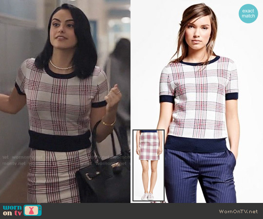 Brooks Brothers Merino Wool Plaid Sweater and Skirt worn by Camila Mendes on Riverdale