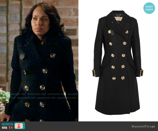 Burberry Leather-trimmed double-breasted wool-blend coat worn by Kerry Washington on Scandal