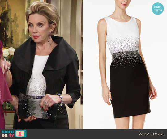 Calvin Klein Embellished Contrast Sheath Dress worn by Judith Chapman on The Young & the Restless
