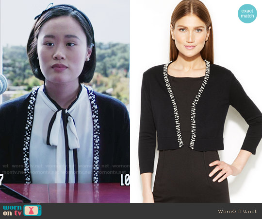 Calvin Klein Shrug with Pearl Detail worn by Courtney Crimsen (Michele Selene Ang) on 13 Reasons Why