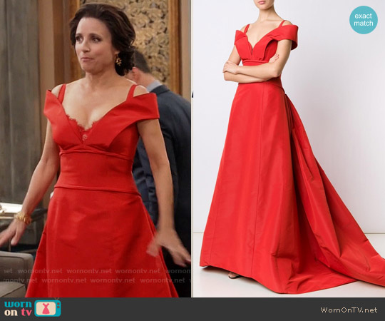 Carolina Herrera Faille Ball Off-The-Shoulder V-neck Dress worn by Selina Meyer (Julia Louis-Dreyfus) on Veep