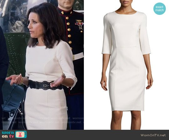 Carolina Herrera 3/4-Sleeve Round-Neck Sheath Dress worn by Julia Louis-Dreyfus on Veep