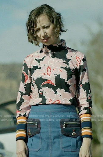 Carol's black and pink floral top and denim skirt on Last Man on Earth